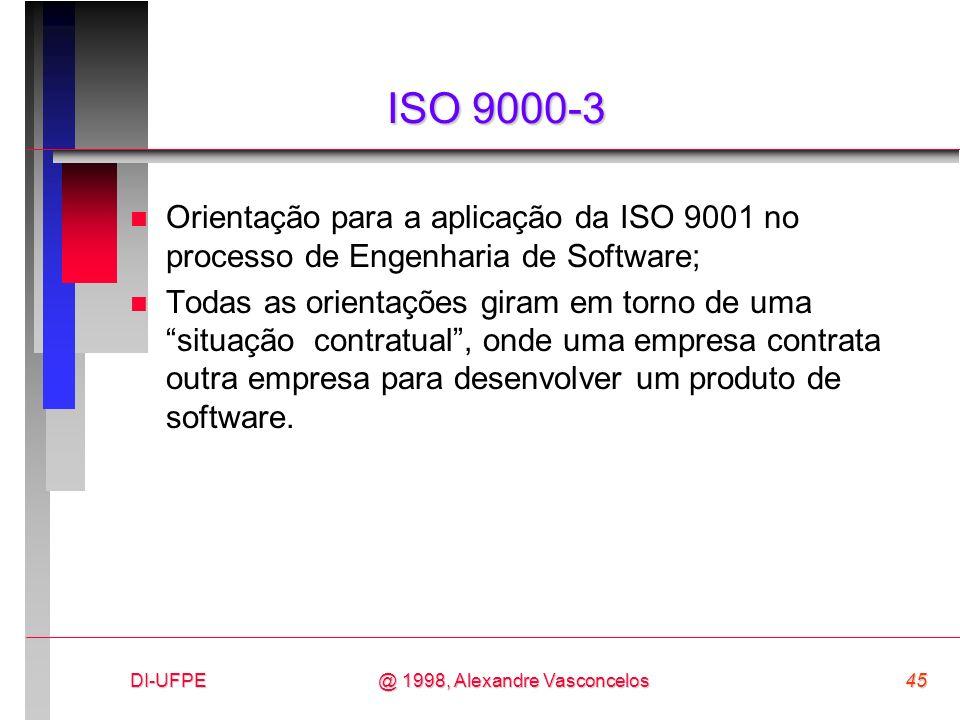 DI-UFPE45@ 1998, Alexandre Vasconcelos ISO 9000-3 n Orientação para a aplicação da ISO 9001 no processo de Engenharia de Software; n Todas as orientaç