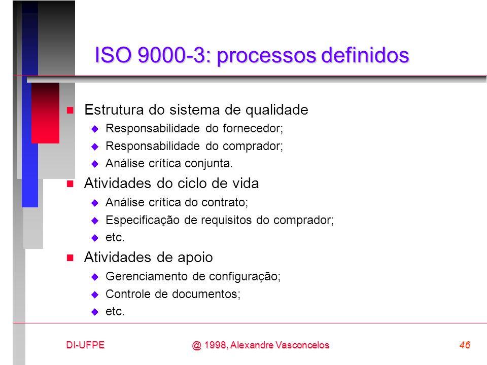 DI-UFPE46@ 1998, Alexandre Vasconcelos ISO 9000-3: processos definidos n Estrutura do sistema de qualidade Responsabilidade do fornecedor; Responsabil