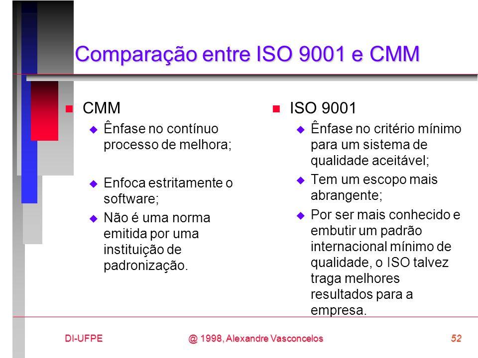 DI-UFPE52@ 1998, Alexandre Vasconcelos Comparação entre ISO 9001 e CMM n CMM Ênfase no contínuo processo de melhora; Enfoca estritamente o software; N