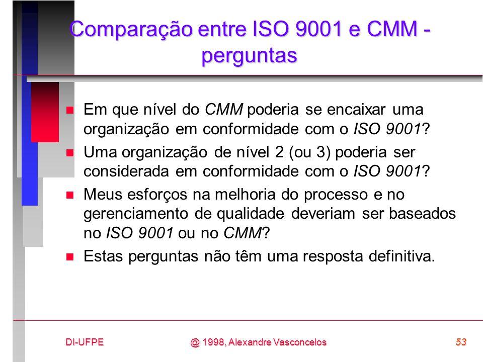 DI-UFPE53@ 1998, Alexandre Vasconcelos Comparação entre ISO 9001 e CMM - perguntas n Em que nível do CMM poderia se encaixar uma organização em confor