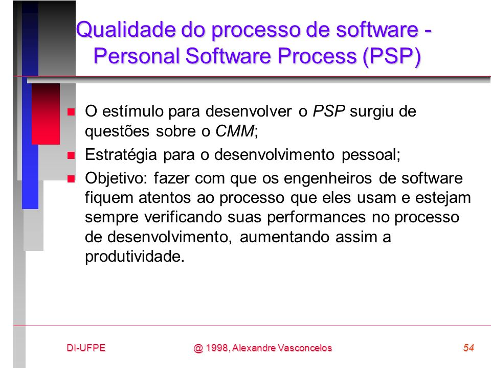 DI-UFPE54@ 1998, Alexandre Vasconcelos Qualidade do processo de software - Personal Software Process (PSP) n O estímulo para desenvolver o PSP surgiu