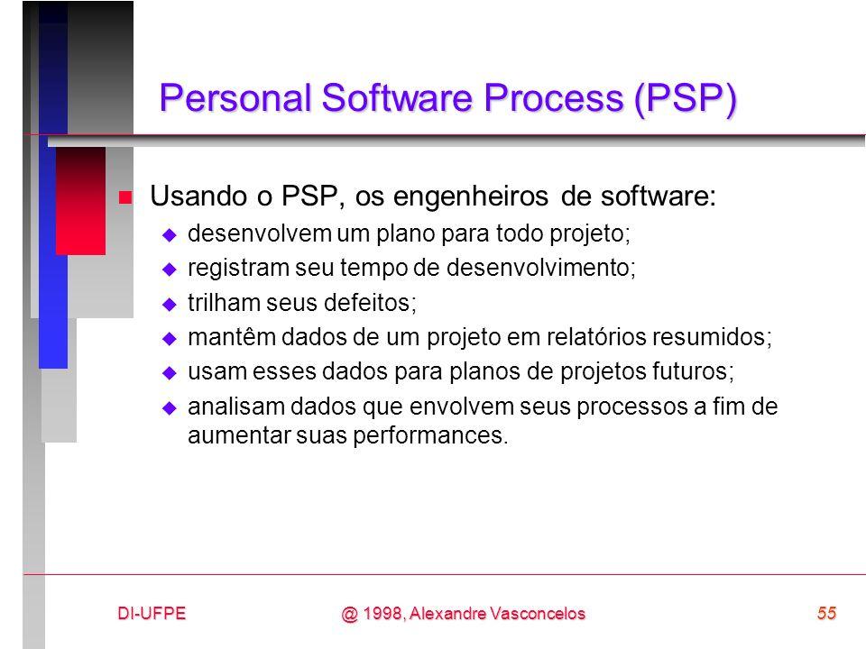 DI-UFPE55@ 1998, Alexandre Vasconcelos Personal Software Process (PSP) n Usando o PSP, os engenheiros de software: desenvolvem um plano para todo proj