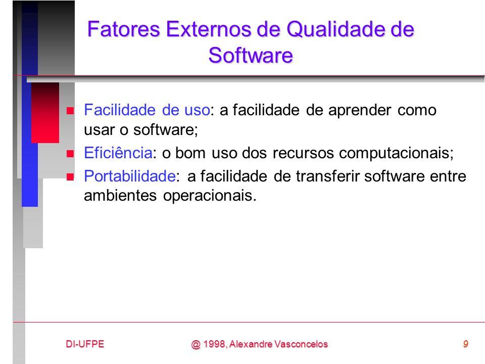 DI-UFPE9@ 1998, Alexandre Vasconcelos Fatores Externos de Qualidade de Software n Facilidade de uso: a facilidade de aprender como usar o software; n