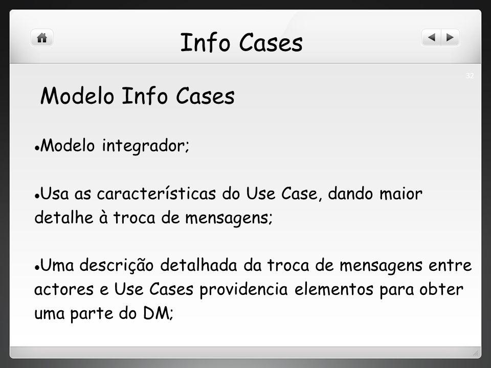 Info Cases Modelo integrador; Usa as características do Use Case, dando maior detalhe à troca de mensagens; Uma descrição detalhada da troca de mensagens entre actores e Use Cases providencia elementos para obter uma parte do DM; Modelo Info Cases 32