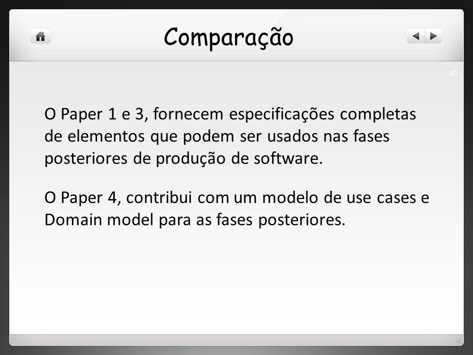 Comparação O Paper 1 e 3, fornecem especificações completas de elementos que podem ser usados nas fases posteriores de produção de software.