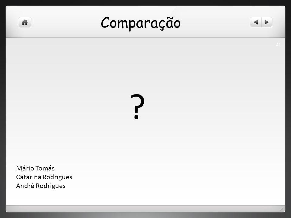 Comparação ? 41 Mário Tomás Catarina Rodrigues André Rodrigues