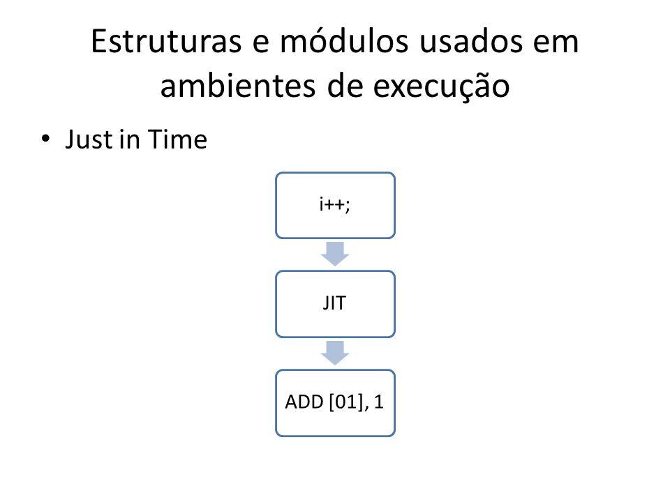 Estruturas e módulos usados em ambientes de execução Just in Time i++;JITADD [01], 1