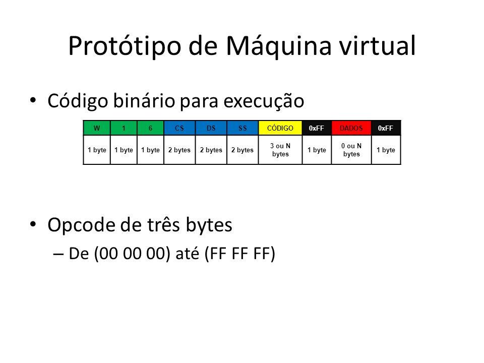 Protótipo de Máquina virtual Código binário para execução Opcode de três bytes – De (00 00 00) até (FF FF FF) W16CSDSSSCÓDIGO0xFFDADOS0xFF 1 byte 2 by