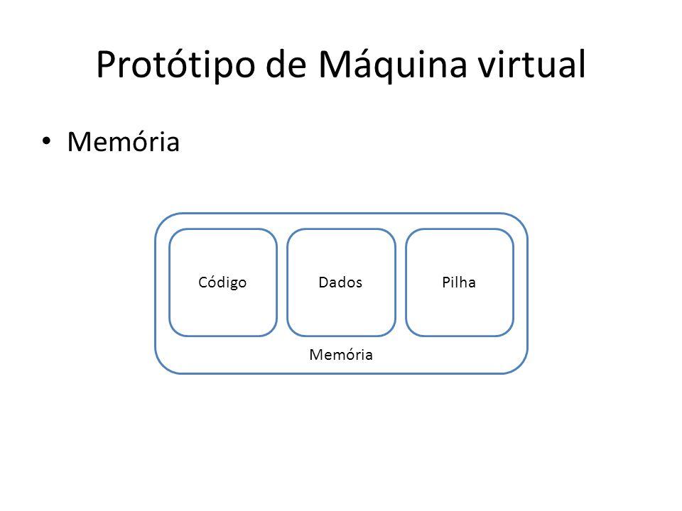 Protótipo de Máquina virtual Memória CódigoDadosPilha