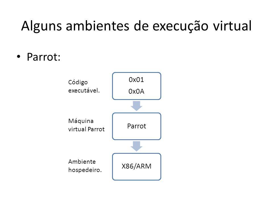 Alguns ambientes de execução virtual Parrot: 0x01 0x0A ParrotX86/ARM Código executável. Máquina virtual Parrot Ambiente hospedeiro.