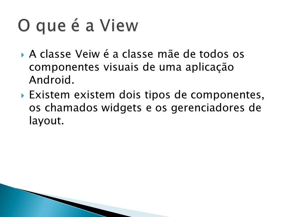 A classe Veiw é a classe mãe de todos os componentes visuais de uma aplicação Android. Existem existem dois tipos de componentes, os chamados widgets