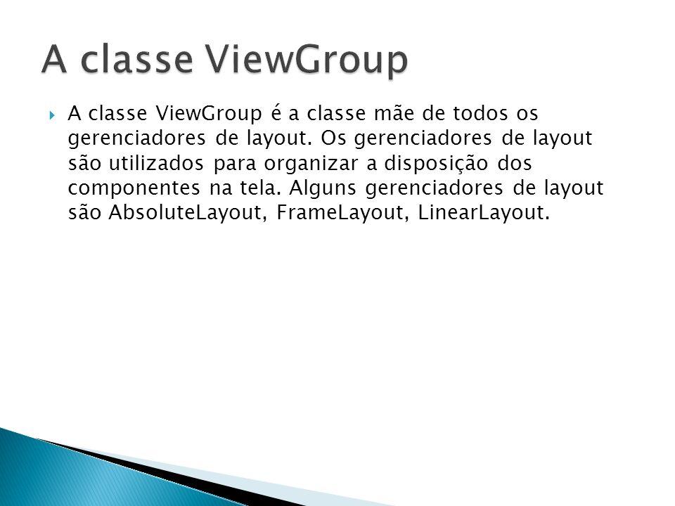 A classe ViewGroup é a classe mãe de todos os gerenciadores de layout. Os gerenciadores de layout são utilizados para organizar a disposição dos compo