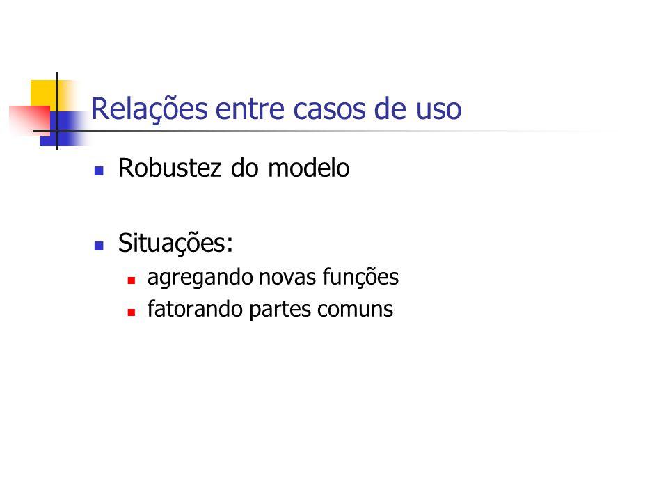 Relações entre casos de uso Robustez do modelo Situações: agregando novas funções fatorando partes comuns
