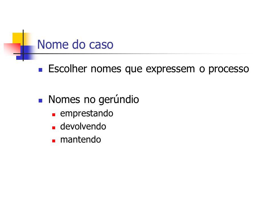 Nome do caso Escolher nomes que expressem o processo Nomes no gerúndio emprestando devolvendo mantendo