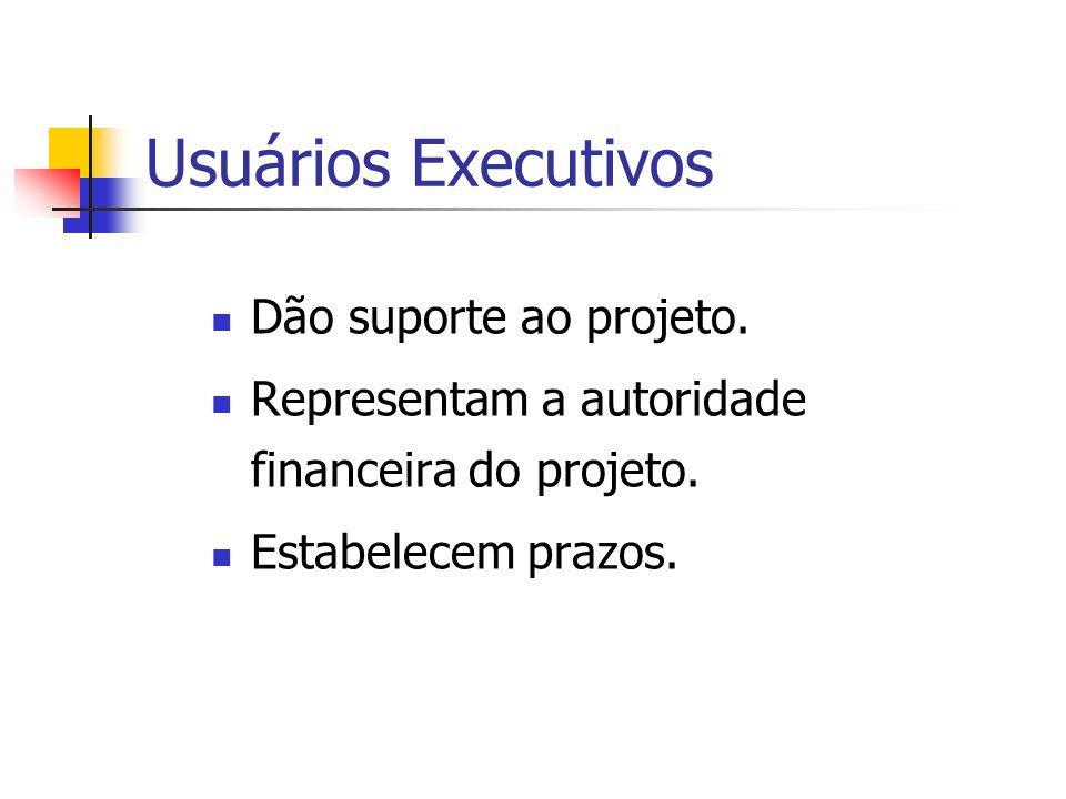 Usuários Executivos Dão suporte ao projeto. Representam a autoridade financeira do projeto. Estabelecem prazos.
