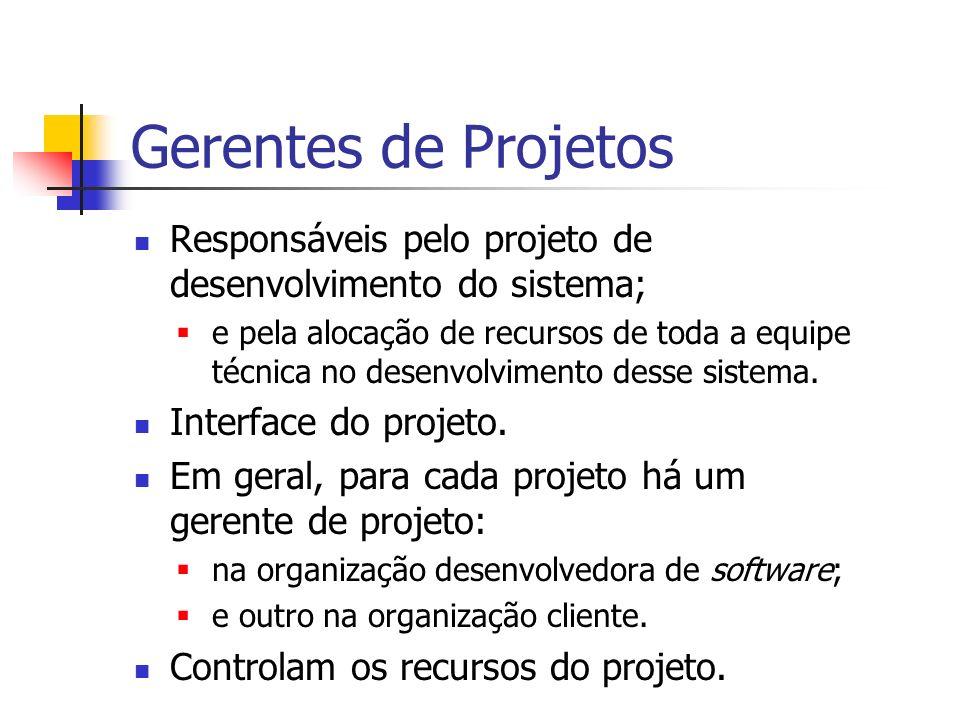 Gerentes de Projetos Responsáveis pelo projeto de desenvolvimento do sistema; e pela alocação de recursos de toda a equipe técnica no desenvolvimento
