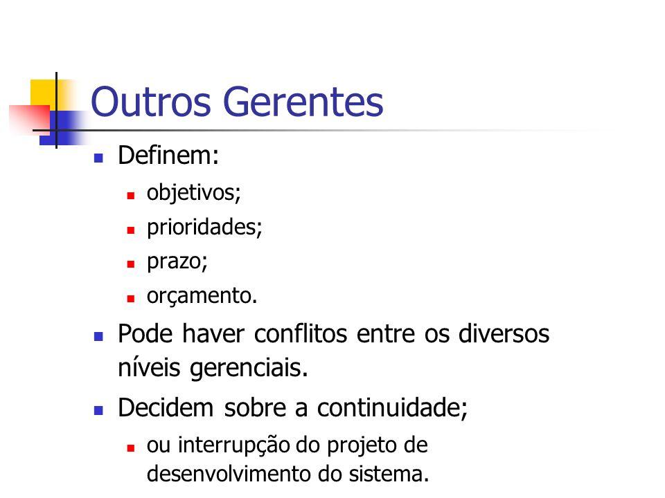 Outros Gerentes Definem: objetivos; prioridades; prazo; orçamento. Pode haver conflitos entre os diversos níveis gerenciais. Decidem sobre a continuid