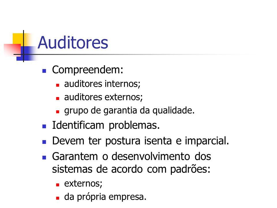 Auditores Compreendem: auditores internos; auditores externos; grupo de garantia da qualidade. Identificam problemas. Devem ter postura isenta e impar