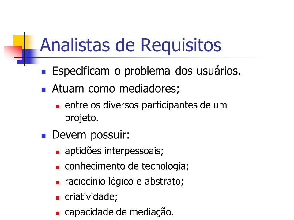 Analistas de Requisitos Especificam o problema dos usuários. Atuam como mediadores; entre os diversos participantes de um projeto. Devem possuir: apti