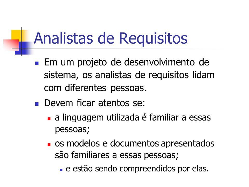 Analistas de Requisitos Em um projeto de desenvolvimento de sistema, os analistas de requisitos lidam com diferentes pessoas. Devem ficar atentos se:
