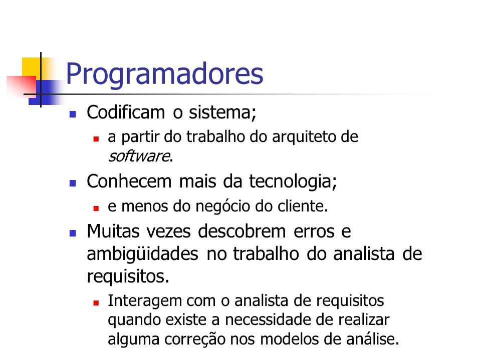 Programadores Codificam o sistema; a partir do trabalho do arquiteto de software. Conhecem mais da tecnologia; e menos do negócio do cliente. Muitas v