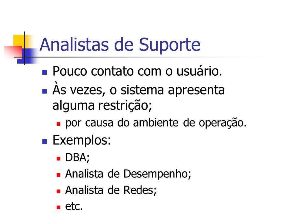 Analistas de Suporte Pouco contato com o usuário. Às vezes, o sistema apresenta alguma restrição; por causa do ambiente de operação. Exemplos: DBA; An