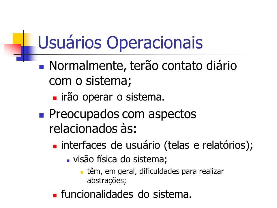Usuários Operacionais Normalmente, terão contato diário com o sistema; irão operar o sistema. Preocupados com aspectos relacionados às: interfaces de