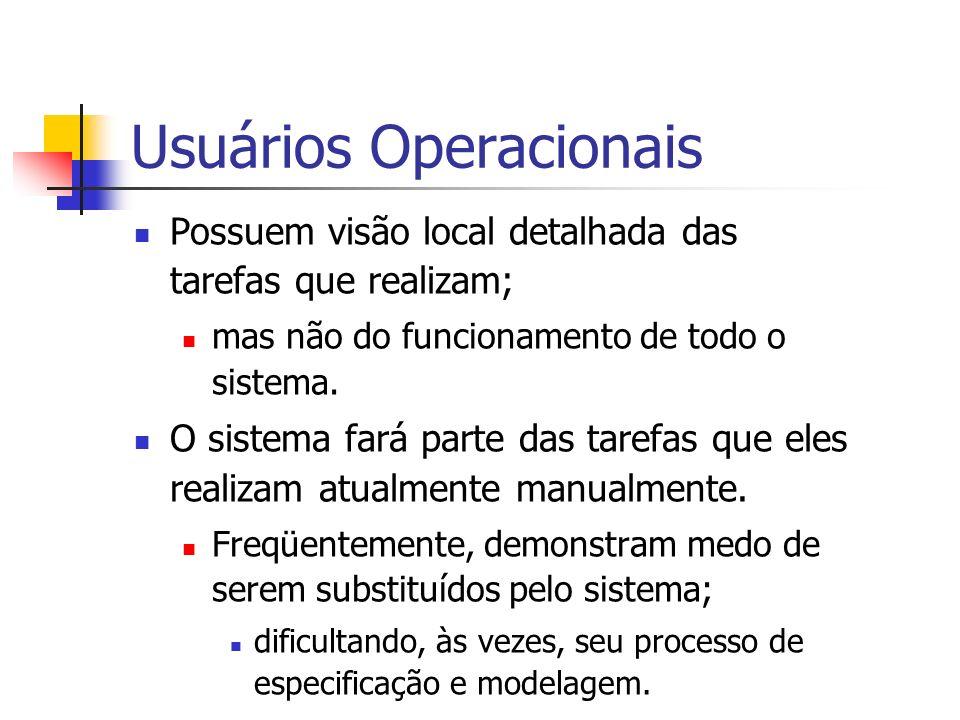 Usuários Operacionais Possuem visão local detalhada das tarefas que realizam; mas não do funcionamento de todo o sistema. O sistema fará parte das tar
