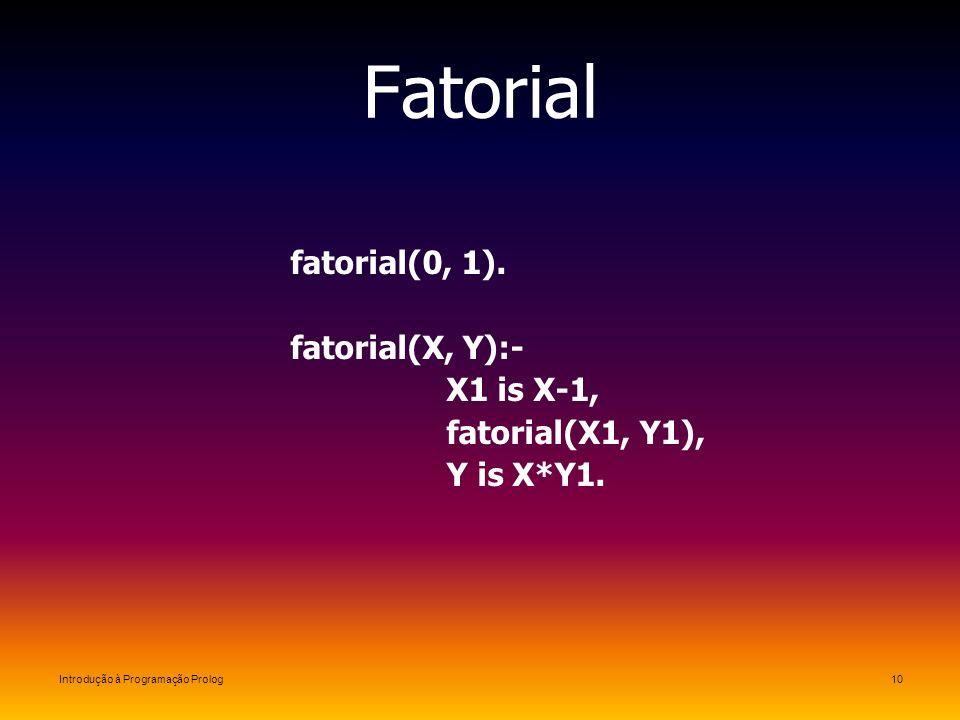 Introdução à Programação Prolog10 Fatorial fatorial(0, 1). fatorial(X, Y):- X1 is X-1, fatorial(X1, Y1), Y is X*Y1.
