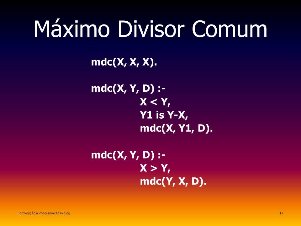 Introdução à Programação Prolog11 Máximo Divisor Comum mdc(X, X, X). mdc(X, Y, D) :- X < Y, Y1 is Y-X, mdc(X, Y1, D). mdc(X, Y, D) :- X > Y, mdc(Y, X,