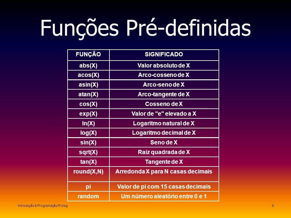 Introdução à Programação Prolog9 Funções Pré-definidas Um número aleatório entre 0 e 1random Valor de pi com 15 casas decimaispi Arredonda X para N ca