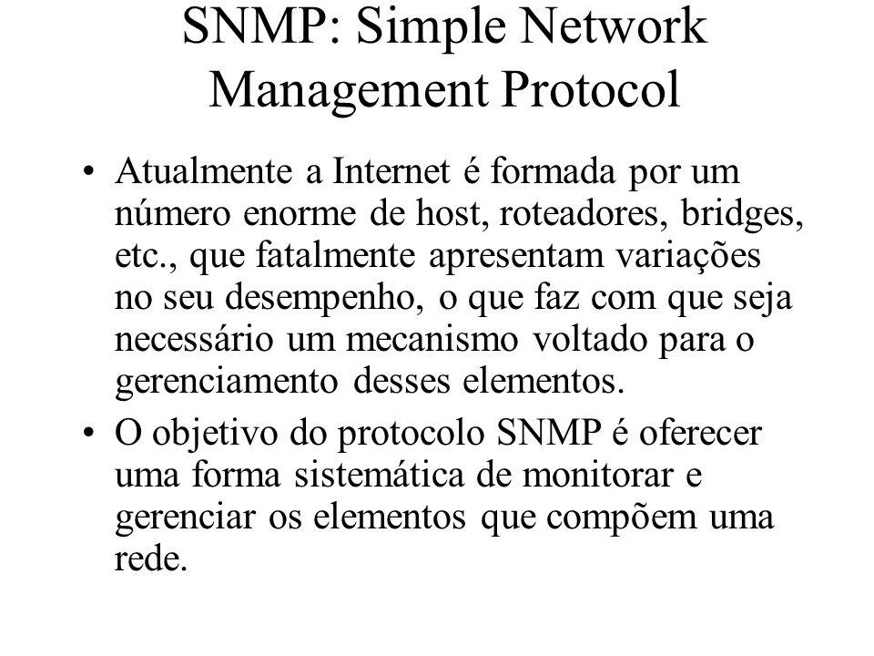 SNMP: Simple Network Management Protocol Atualmente a Internet é formada por um número enorme de host, roteadores, bridges, etc., que fatalmente apres