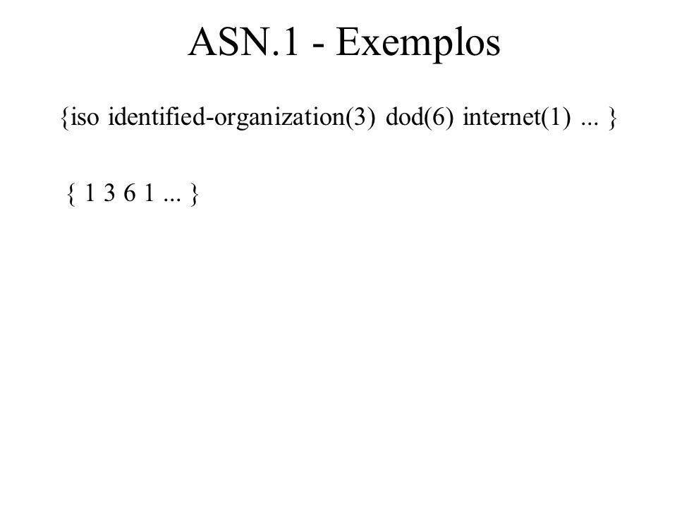 ASN.1 - Exemplos {iso identified-organization(3) dod(6) internet(1)... } { 1 3 6 1... }