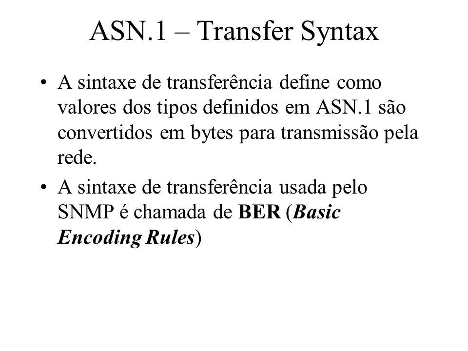ASN.1 – Transfer Syntax A sintaxe de transferência define como valores dos tipos definidos em ASN.1 são convertidos em bytes para transmissão pela red