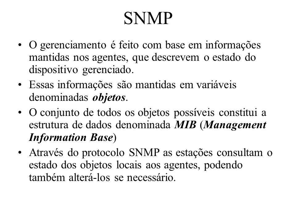 SNMP O gerenciamento é feito com base em informações mantidas nos agentes, que descrevem o estado do dispositivo gerenciado. Essas informações são man