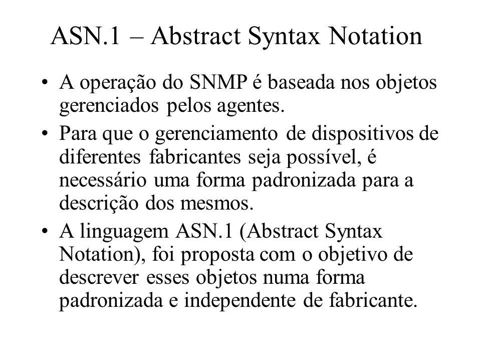 ASN.1 – Abstract Syntax Notation A operação do SNMP é baseada nos objetos gerenciados pelos agentes. Para que o gerenciamento de dispositivos de difer