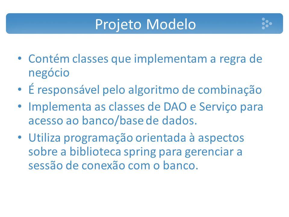 Projeto Modelo Contém classes que implementam a regra de negócio É responsável pelo algoritmo de combinação Implementa as classes de DAO e Serviço par