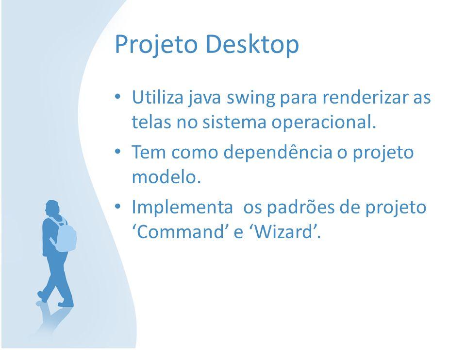 Projeto Desktop Utiliza java swing para renderizar as telas no sistema operacional. Tem como dependência o projeto modelo. Implementa os padrões de pr