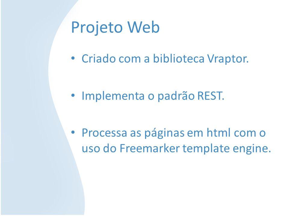 Projeto Web Criado com a biblioteca Vraptor. Implementa o padrão REST. Processa as páginas em html com o uso do Freemarker template engine.
