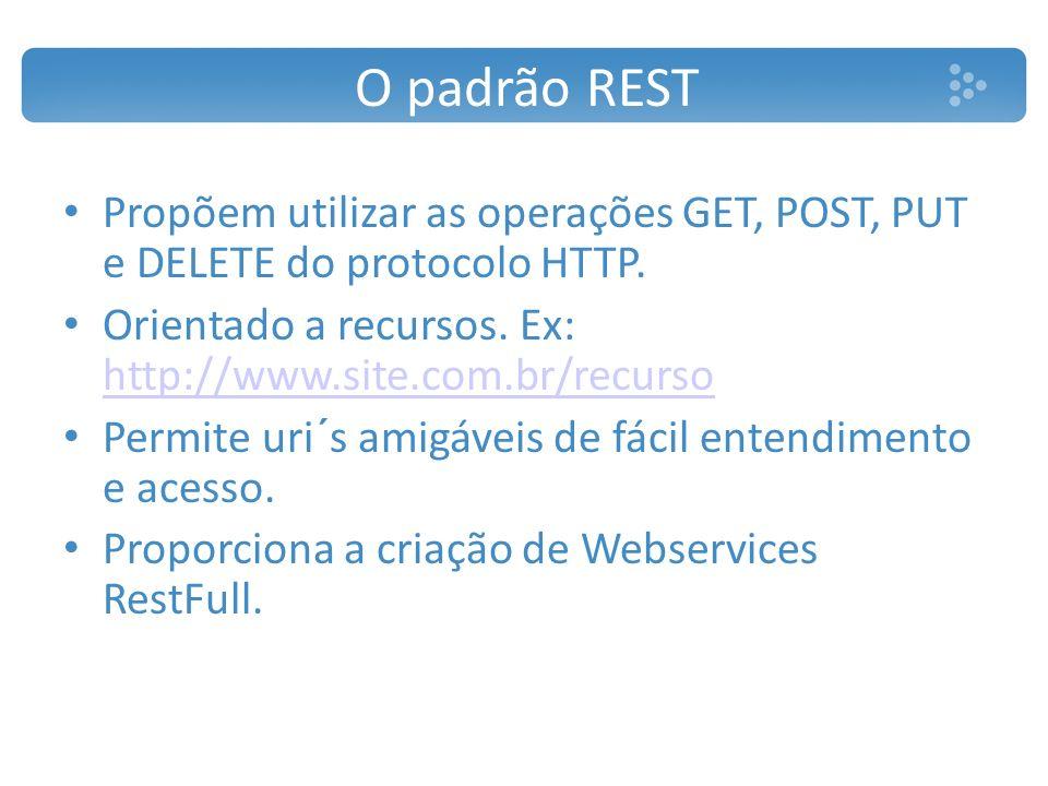 O padrão REST Propõem utilizar as operações GET, POST, PUT e DELETE do protocolo HTTP. Orientado a recursos. Ex: http://www.site.com.br/recurso http:/