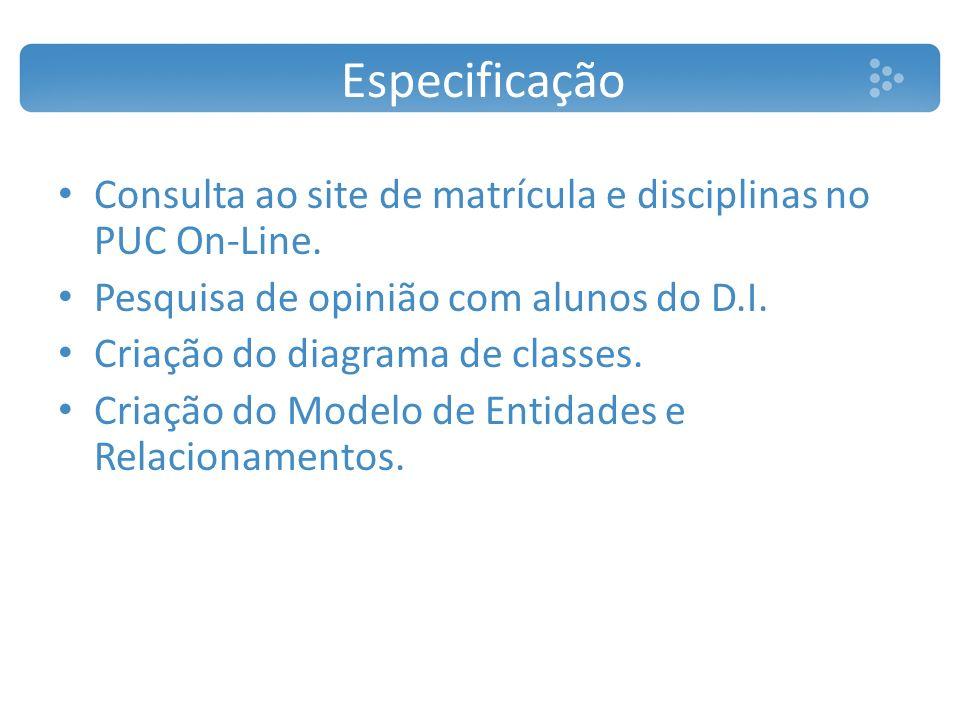 Especificação Consulta ao site de matrícula e disciplinas no PUC On-Line. Pesquisa de opinião com alunos do D.I. Criação do diagrama de classes. Criaç