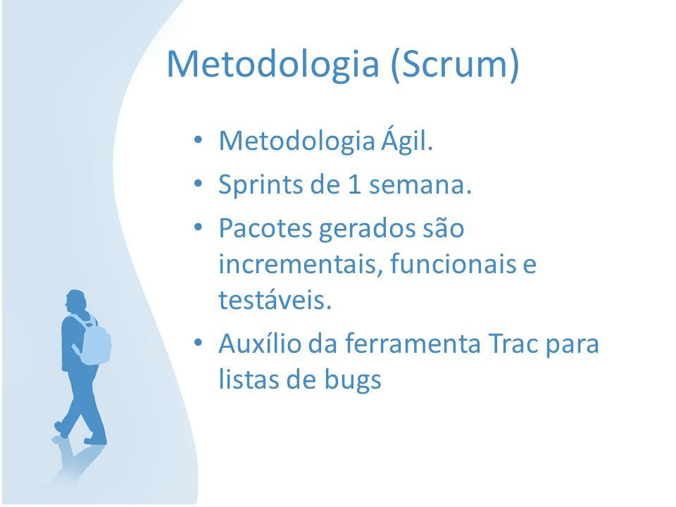 Metodologia (Scrum) Metodologia Ágil. Sprints de 1 semana. Pacotes gerados são incrementais, funcionais e testáveis. Auxílio da ferramenta Trac para l