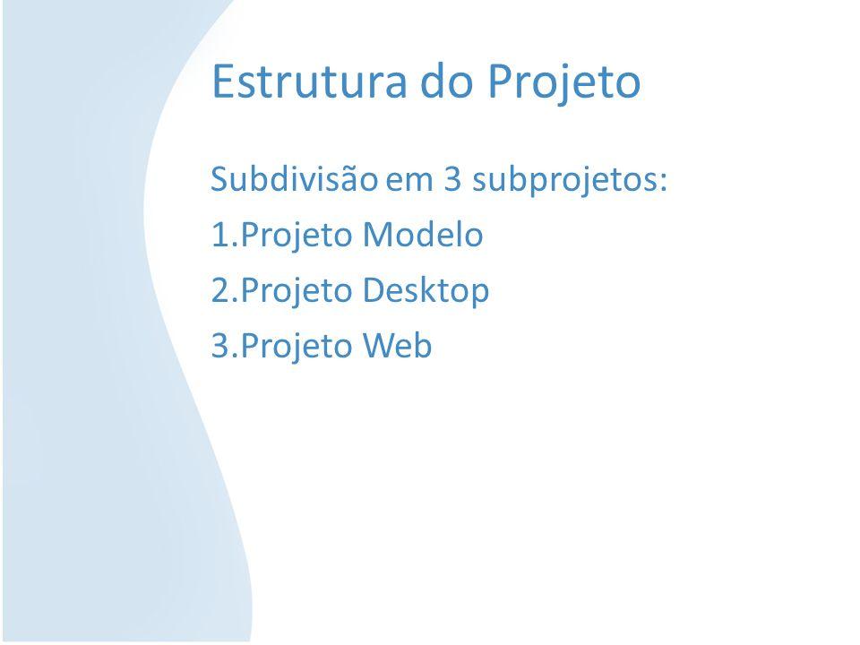Estrutura do Projeto Subdivisão em 3 subprojetos: 1.Projeto Modelo 2.Projeto Desktop 3.Projeto Web