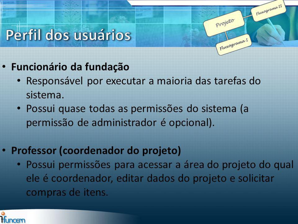 Funcionário da fundação Responsável por executar a maioria das tarefas do sistema. Possui quase todas as permissões do sistema (a permissão de adminis