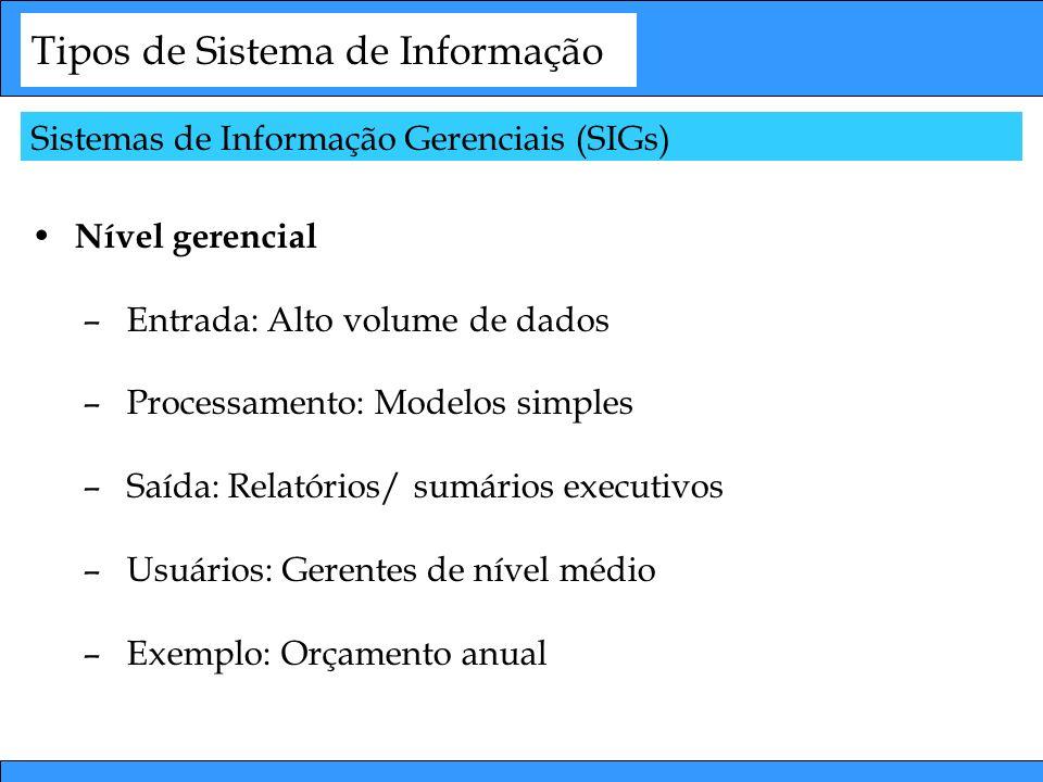 Tipos de Sistema de Informação Nível gerencial –Entrada: Alto volume de dados –Processamento: Modelos simples –Saída: Relatórios/ sumários executivos