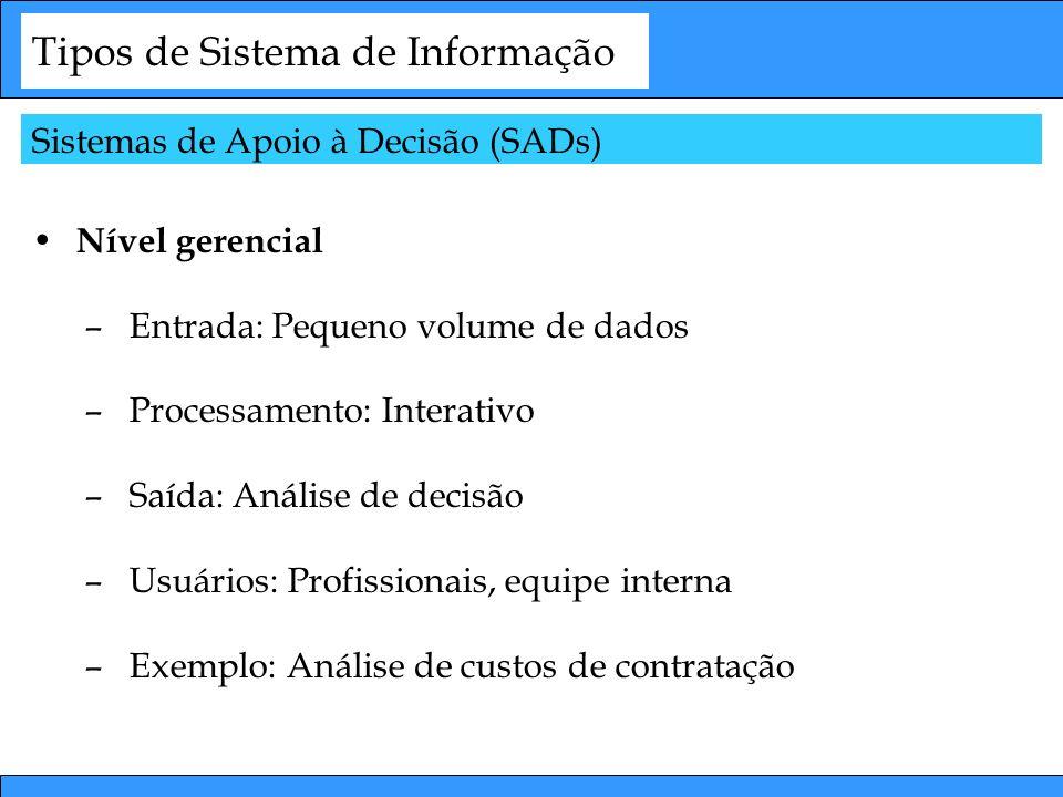 Tipos de Sistema de Informação Nível gerencial –Entrada: Pequeno volume de dados –Processamento: Interativo –Saída: Análise de decisão –Usuários: Prof