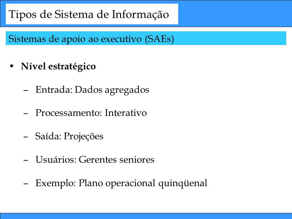 Tipos de Sistema de Informação Nível estratégico –Entrada: Dados agregados –Processamento: Interativo –Saída: Projeções –Usuários: Gerentes seniores –