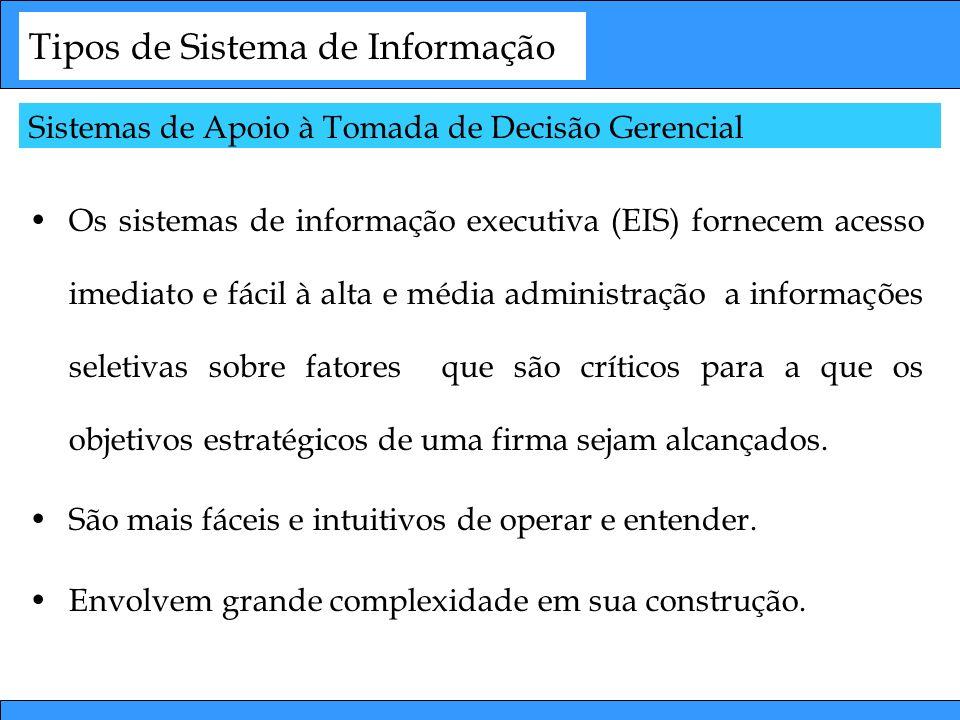 Tipos de Sistema de Informação Os sistemas de informação executiva (EIS) fornecem acesso imediato e fácil à alta e média administração a informações s