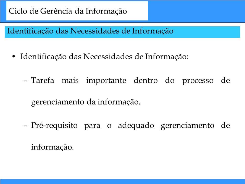 Ciclo de Gerência da Informação Identificação das Necessidades de Informação: –Tarefa mais importante dentro do processo de gerenciamento da informaçã