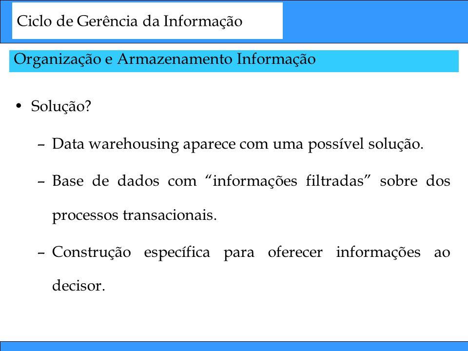 Ciclo de Gerência da Informação Organização e Armazenamento Informação Solução? –Data warehousing aparece com uma possível solução. –Base de dados com